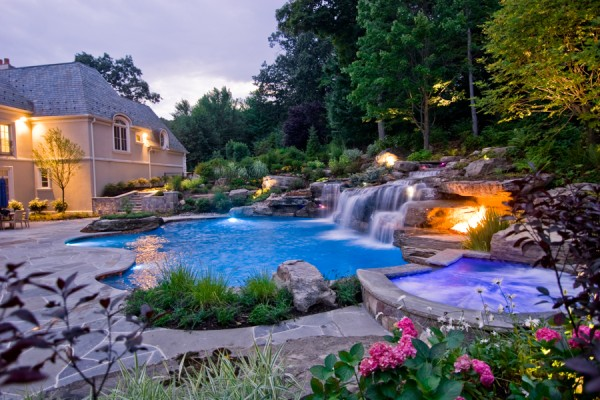 waterfall inground custom swimming pool design 600x400 pool design - Custom Swimming Pool Designs