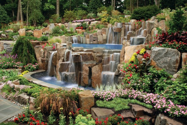 waterfall pool garden design saddle river nj 600x400 Landscaping & Gardens
