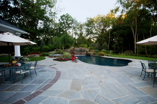 allendale nj custom backyard tropical swimming pool 600x400 Tropical Backyard Waterfalls   Allendale NJ