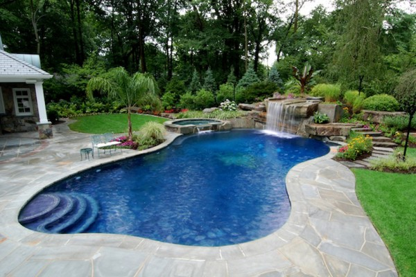 allendale nj landscape tropical backyard pool construction 600x400 Tropical Backyard Waterfalls   Allendale NJ