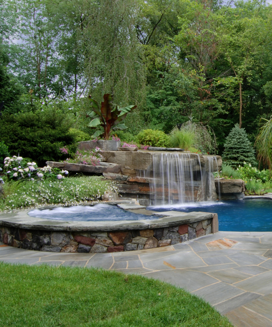allendale nj waterfall pool design vert Tropical Backyard Waterfalls   Allendale NJ