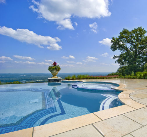 award winning glass tile infinity swimming pool design nj 1 Kinnelon NJ Fiber Optic Negative Edge Pool