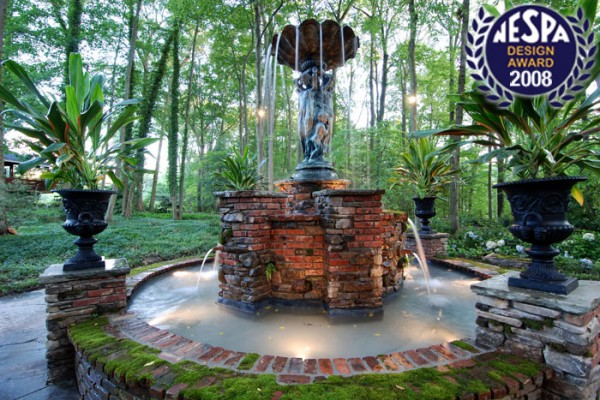 brick waterfeature stone waterfeature 600x400 Award Winning Pools & Landscaping