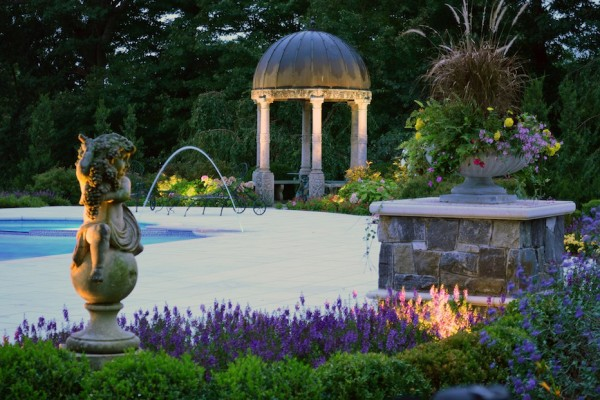 kinnelon nj Tuscan landscape design negative edge swimming pool 600x400 Kinnelon NJ Fiber Optic Negative Edge Pool