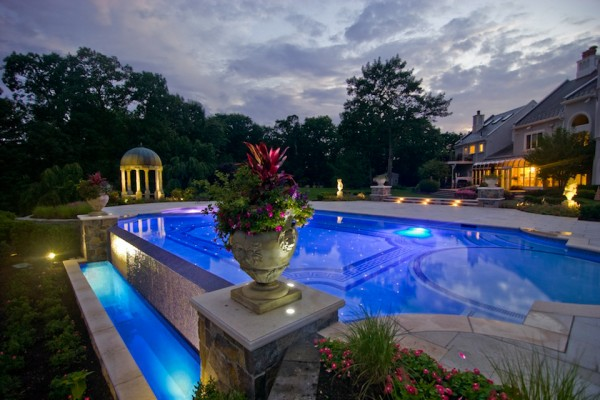 kinnelon nj inground zero edge swimming pool design glass tile lighting 600x400 Kinnelon NJ Fiber Optic Negative Edge Pool