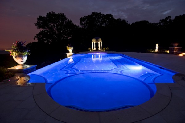 kinnelon nj night lighting fiber optic negative edge pool design 600x400 Kinnelon NJ Fiber Optic Negative Edge Pool