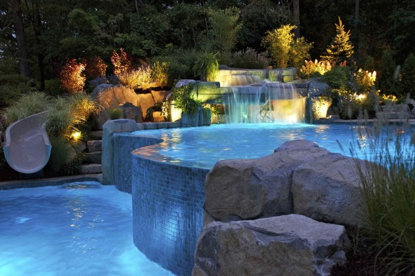 mahwah nj natural waterfall vanishing edge swimming pool 600x400 Vanishing Edge Pool  Mahwah NJ