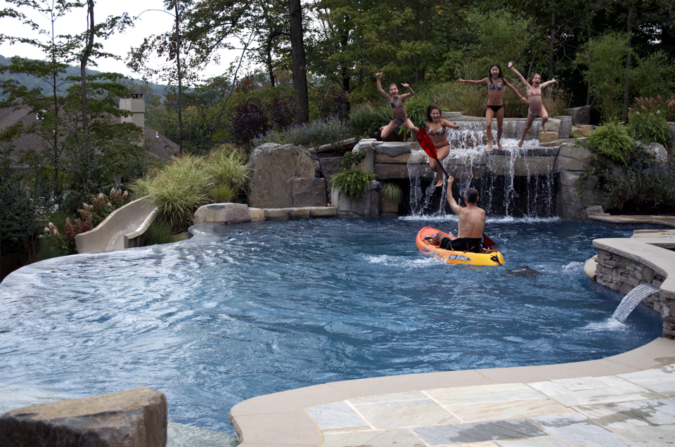 Inground Pools With Waterfalls delighful custom inground pools backyard pool waterfalls design