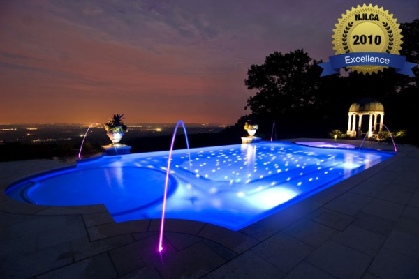 night lighting pool lighting 600x400 Award Winning Pools & Landscaping