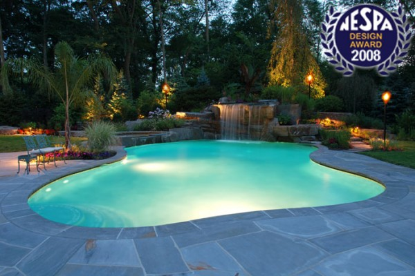 pool waterfalls swimming pool waterfalls 600x400 Award Winning Pools & Landscaping