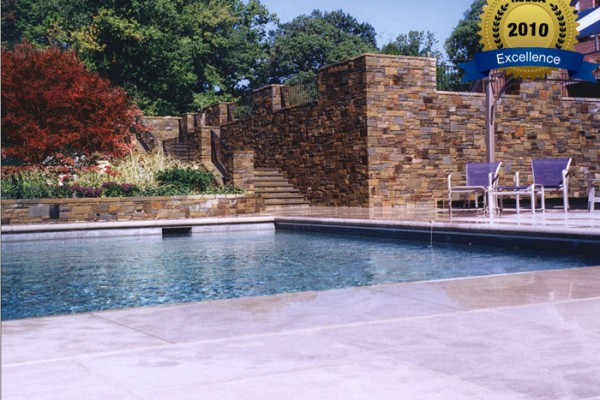 stone patio stone wall stone 600x400 Award Winning Pools & Landscaping
