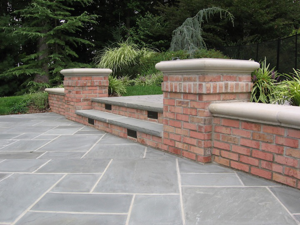 Brick Patio Wall Designs brick wall behind gabion brick and rock filled gabions Stone Patio Wall Design Saddle River Nj 300x225 Stone Patio Wall Design Saddle River Nj