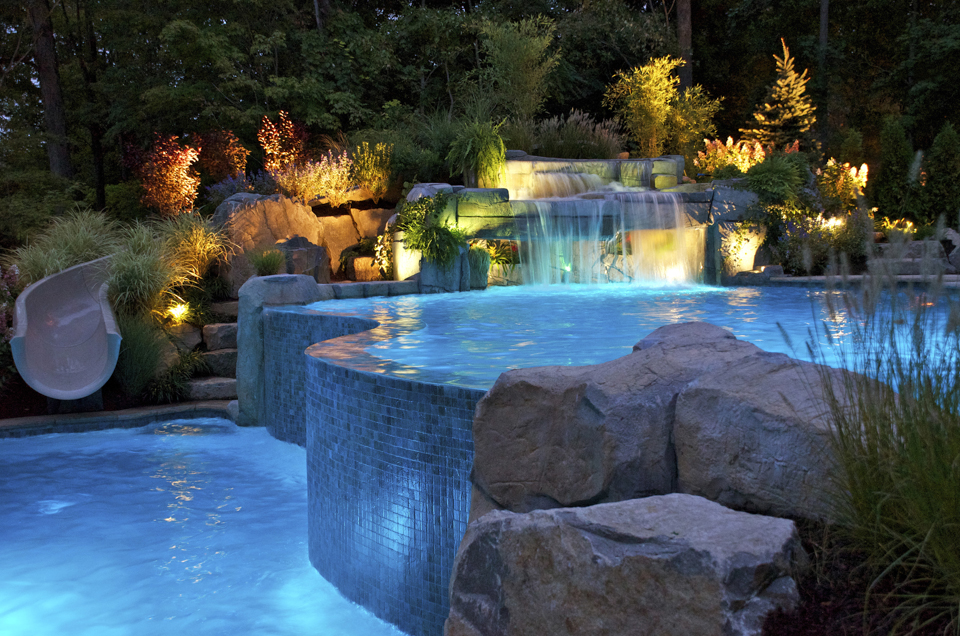 Inground Pools With Waterfalls And Slides modren inground pools with waterslides pool slide intended inspiration