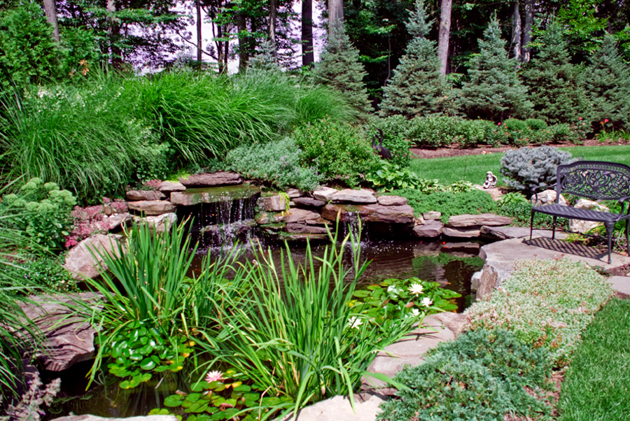 Custom waterfall fountains design installation nj for Garden pond plumbing design