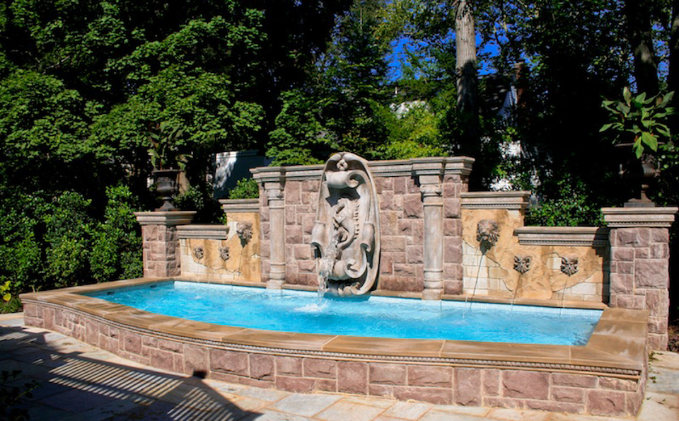 All-glass-tile-swimming-pool-design-ideas-stone-fountain ...