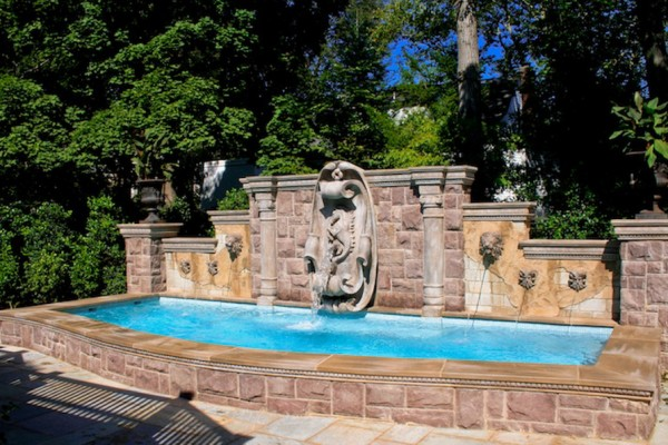 Ridgewood NJ All glass tile swimming pool design stone fountain 600x400 All Glass Tile Pool & Fountain  Ridgewood NJ