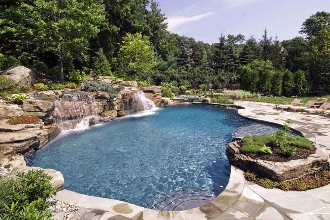 Pool waterfalls design mahwah nj cipriano landscape for Large swimming pool designs