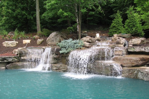 Swimming Pool Waterfall Designs twisty slide to indoor pool at country inn suites in nd outdoor spaces recreational areas exterior house views pinterest indoor pools and Mahwah Nj Natural Waterfalls Swimming Pool Landscaping Stone Design 600x400 Pool Waterfalls Design Mahwah Nj