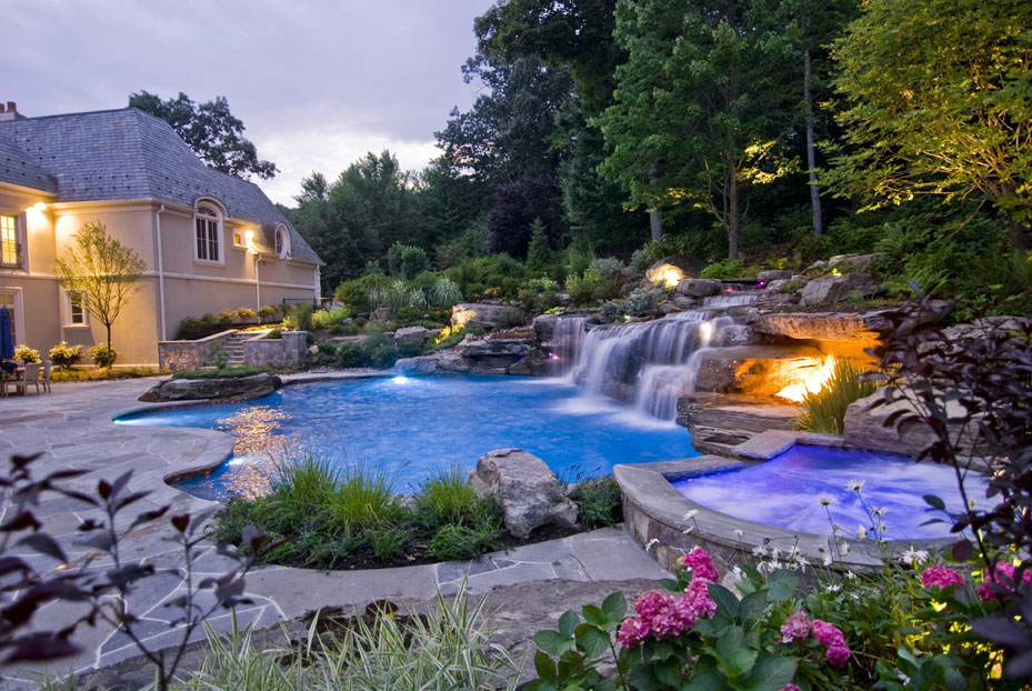 pool waterfalls design landscaping mahwah nj