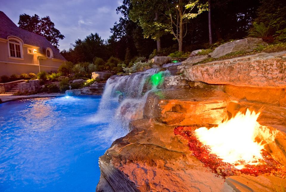 pool waterfall lighting. Natural Swimming Pool Ideas Led Color Lighting 600x402 Waterfall E