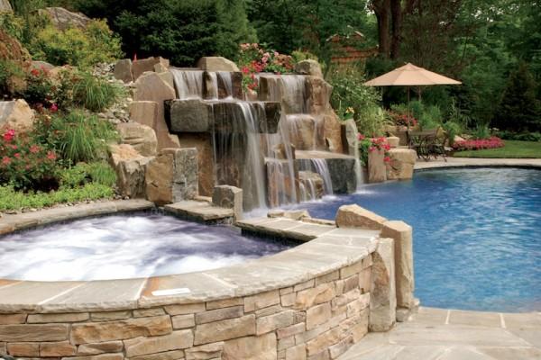 saddle river nj infinity edge swimming pool design natural waterfalls spa 600x400 Infinity Edge Pool  Saddle River, NJ.