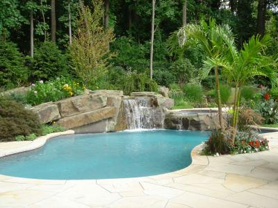 01394192834cal landscape design pool waterfalls northern nj project 2 BACKYARD VACATION IN A TROPICAL LANDSCAPE & POOL DESIGN   NORTHERN NJ