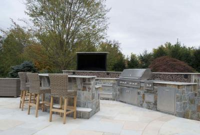 01398248352uch does an outdoor kitchen cost with 60 inch TV on lift  Bergen County Northern NJ 2 ARE THE COST OF OUTDOOR KITCHENS WORTH THE INVESTMENT?   BERGEN COUNTY NJ