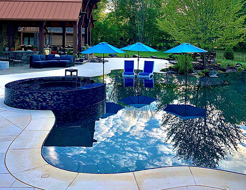 Perimeter Overflow Glass Tile Pool